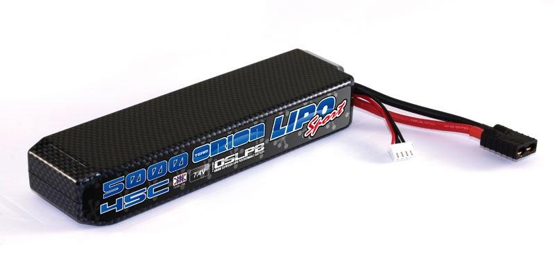 Battery LiPo Orion Carbon Sport 7.4v 5000mah 45C Traxxas Connector