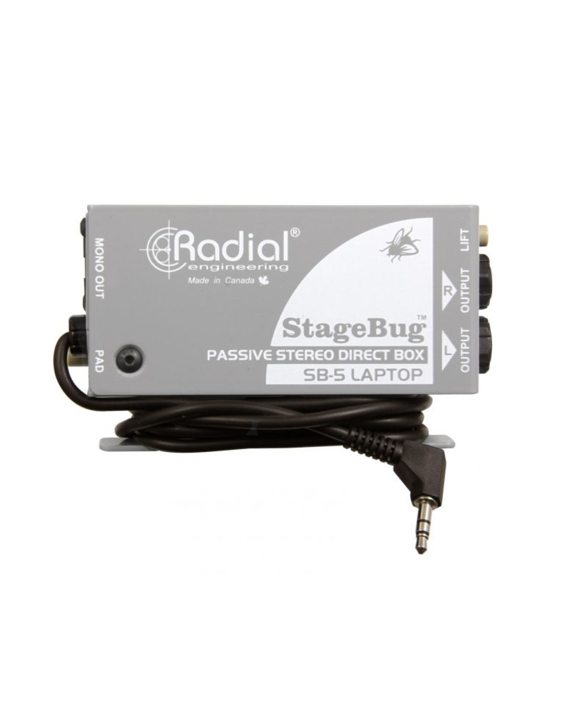 Radial StageBug5 Laptop DI Passive Direct Box with mini Jack cable