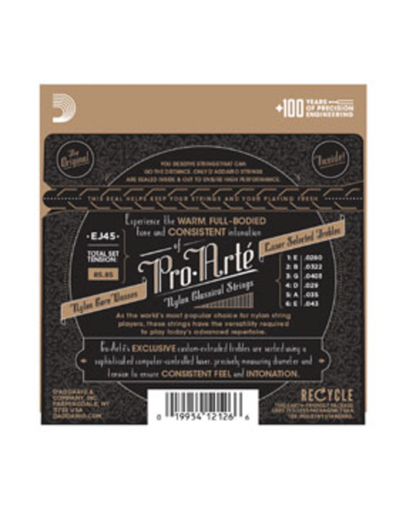Daddario Pro-Arte Nylon Normal Tension Dadd J45 028-043 648mm Scale 3 Pack