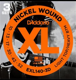 Daddario 3 Pack Electric Guitar XL Lit/Hvy Bot, 10-52