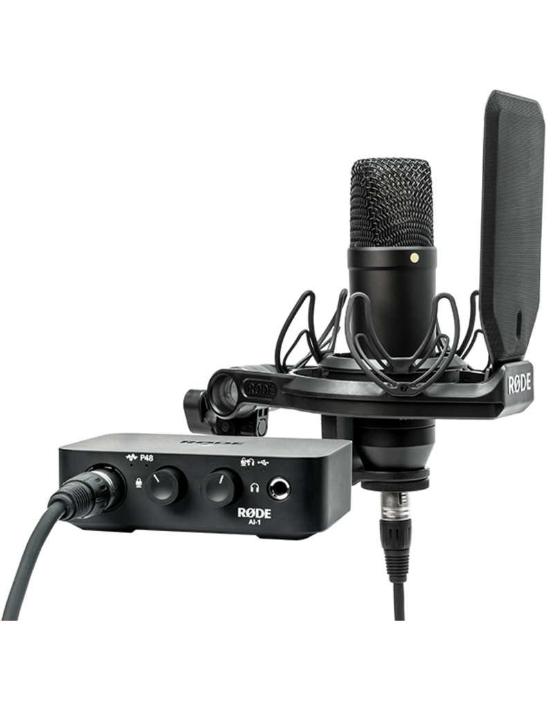 """Rode Rode NT1/AI KIT Incredibly Quiet 1"""" Cardioid Condenser Microphone - only 4.5dBA of self noise! Includes SMR Premium shock mount with Rycote onboard and Microphone Dust Cover."""