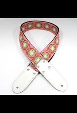 DSL Jacquard Weaving Green Flower, Red Base
