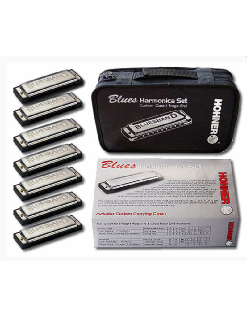 Hohner Hohner Blues Band Starter Set 7 Harmonicas in Carry Case - A Bb C D E F G