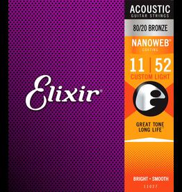 Elixir Acoustic Nano - Custom Light  Elixir 11-52 Gauge Strings