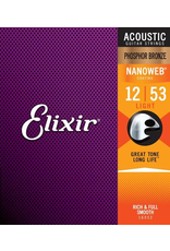 Elixir Acoustic Nanoweb - 12 String Acoustic String - Light Gauge - Poly 10-47 Phosphor Bronze