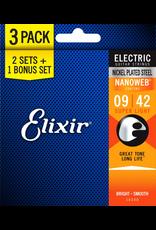 Elixir Nanoweb Electric 9-42 3 Pack Super Light