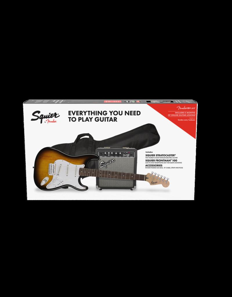 Squier Squier Stratocaster Pack, Laurel Fingerboard, Brown Sunburst, Gig Bag, 10G - 240V AU Strat