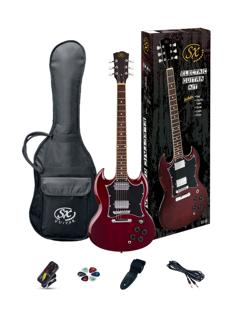 SX SG Wine Red w/accessories (NO AMP) - Guitar Pack