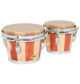 """Mano MANO 7"""" & 8"""" Bongo Nat Traditional style two tone wood shells. Standard chrome flanged hoops and hardware. Steel band around the base of each shell. Dark and light brown."""