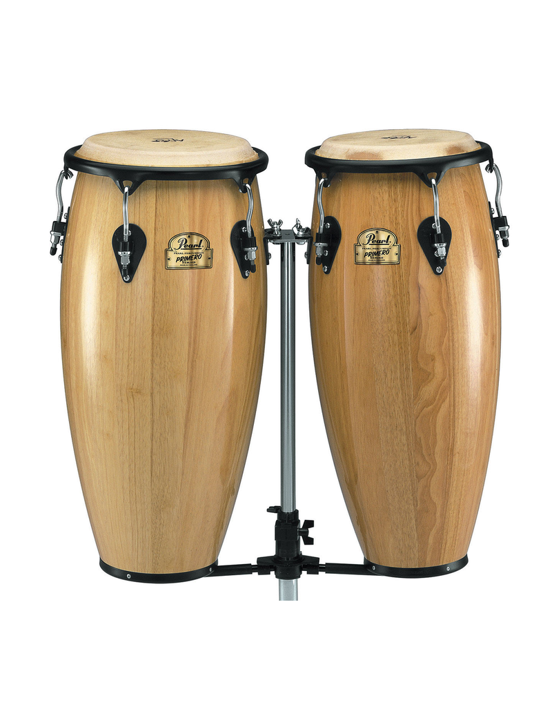"""Pearl Primero Conga Set – Thai Oak.  10"""" x 28"""" and 11"""" x 28"""" tall. Fitted with Buffalo heads. Contour Crown Rims. Polished steel hardware. Stands not included. Natural finish."""