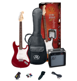 SX 4/4 Essex Guitar Package - Candy Apple Red + SX10 amp