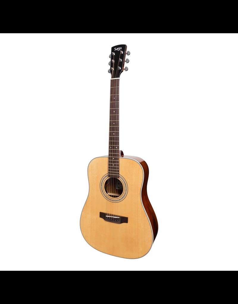 Saga Saga '850 Series' Solid Spruce Top Acoustic-Electric Dreadnought Guitar (Natural Gloss) inc case