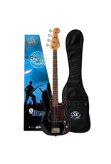 """SX 3/4 size short scale Bass blk Traditional 60's style solid basswood body. Maple neck with rosewood fingerboard. 20 frets.30"""" scale. P pickup. Volume and tone controls with chrome knobs. Tortoiseshell 3 ply scratchplate. Chrome vintage machine head"""