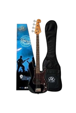 """SX 3/4 size short scale Bass blk LEFT HANDED Traditional 60's style solid basswood body. Maple neck with rosewood fingerboard. 20 frets.30"""" scale. P pickup. Volume and tone controls with chrome knobs. Tortoiseshell 3 ply scratchplate. Chrome vintage"""
