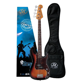 """SX 3/4 size short scale Bass sbst Traditional 60's style solid basswood body. Maple neck with rosewood fingerboard. 20 frets.30"""" scale. P pickup. Volume and tone controls with chrome knobs. Tortoiseshell 3 ply scratchplate. Chrome vintage machine hea"""