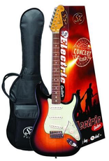 """SX Sunburst SX double cutaway ¾ size vintage style electric  Traditional 60's style solid basswood body. Maple neck with rosewood fingerboard. 21 frets. 24"""" scale. 3 single coil pickups. 1 volume and 2 tone controls. 5 way switch. Ivory pickup covers"""