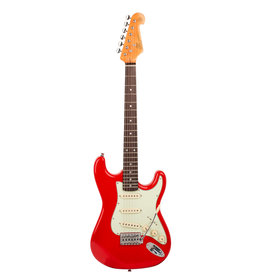 """SX Fiesta Red SX Strat-style ¾ size vintage style electric  Traditional 60's style solid basswood body. Maple neck with rosewood fingerboard. 21 frets. 24"""" scale. 3 single coil pickups. 1 volume and 2 tone controls. 5 way switch. Ivory pickup covers"""