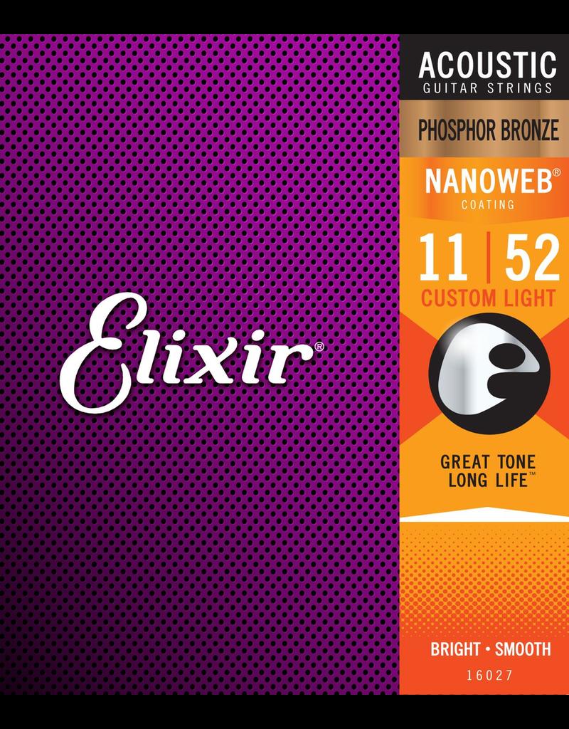 Elixir 11-52 Nanoweb Phospor Bronze Acoustic Custom Light Elixir 16077