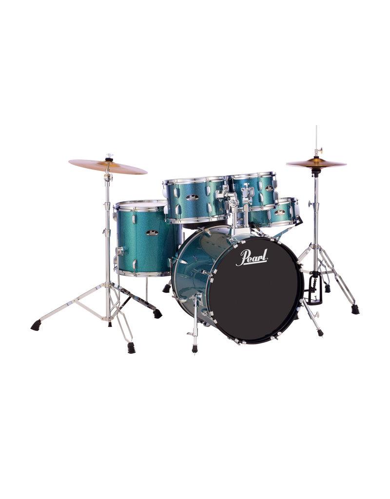 "Pearl Roadshow 20"" 5pc Fusion Drum Kit w/Hardware and cymbals Aqua Blue Glitter"