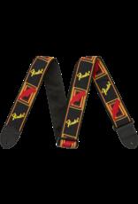 "Fender 2"" Monogrammed Strap, Black/Yellow/Red"