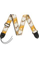 "Fender 2"" Monogrammed Strap, White/Brown/Yellow"