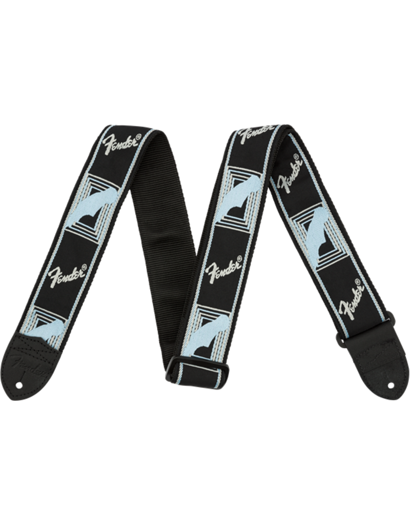 "Fender 2"" Monogrammed Strap, Black/Light Grey/Blue"