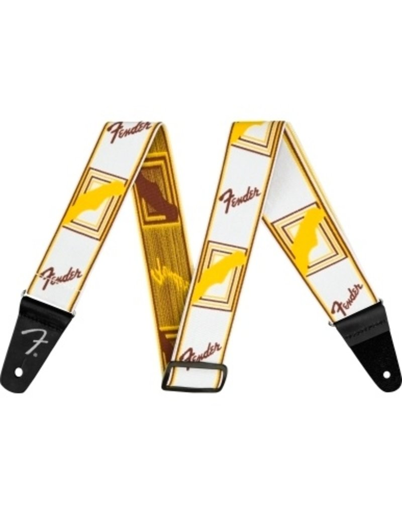 Fender Weighless Monogrammed Strap White/Brown/Yellow