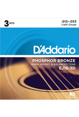Daddario 3-Sets EJ16 Acoustic 12-53 Light