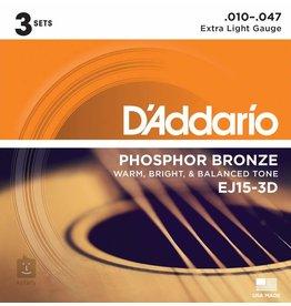 Daddario 3-Sets EJ15 Acoustic 10-47 Extra Light