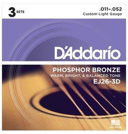 Daddario 3-Sets EJ26 Acoustic 11-52 Custom Light
