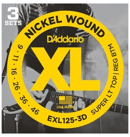 Daddario 3-Sets EXL125 Electric 9-46 Super Light Top / Regular Bottom