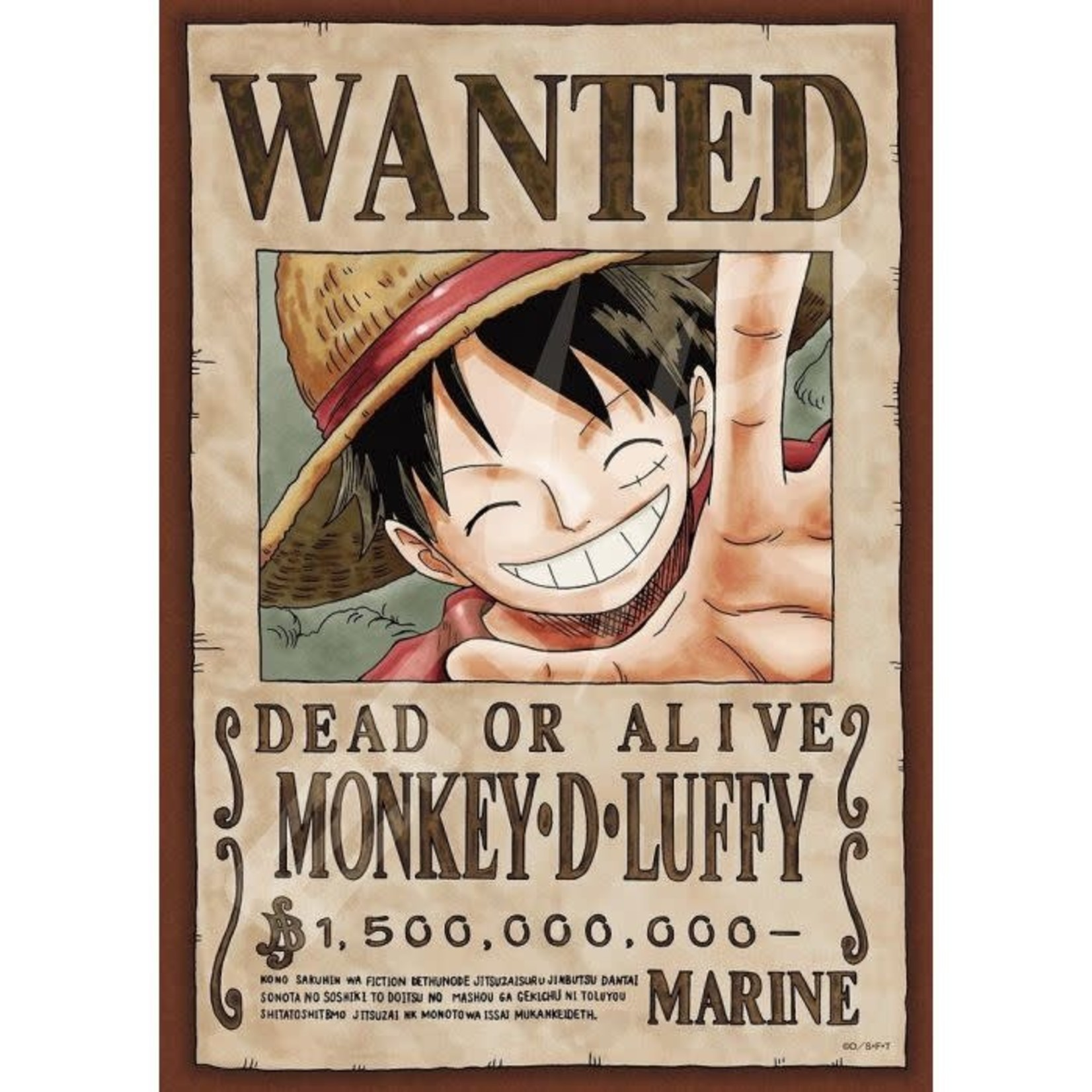 JIGSAW PUZZLE ONE PIECE: WANTED POSTER MONKEY D. LUFFY 208PCS (NO.208-034: 182MM X 257MM)