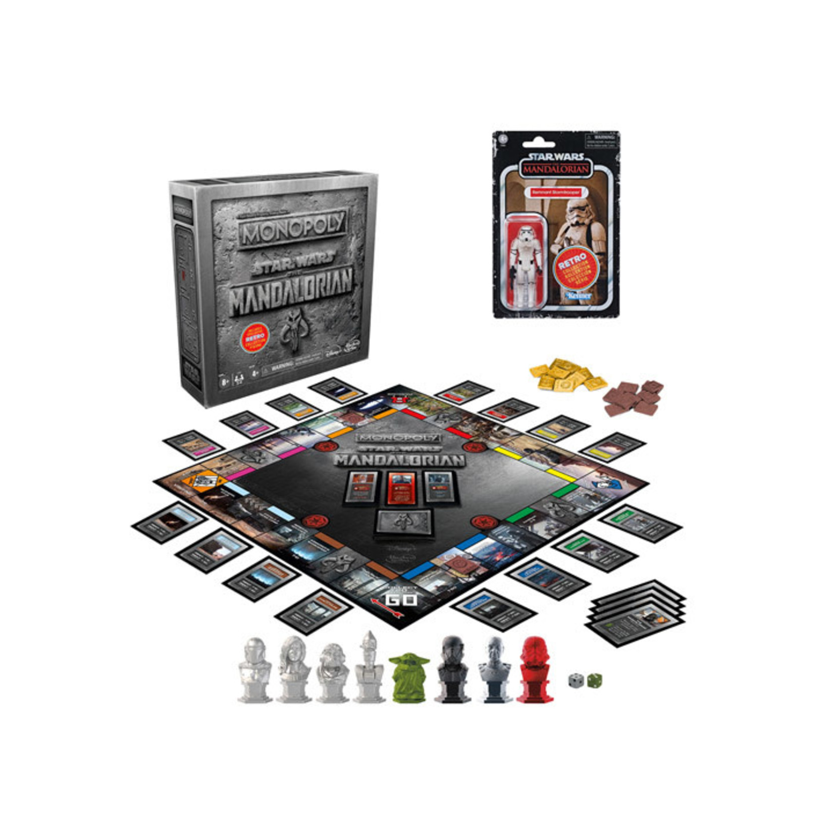 Hasbro Star Wars The Mandalorian Monopoly Collector's Edition with Retro Remnant Stormtrooper Action Figure