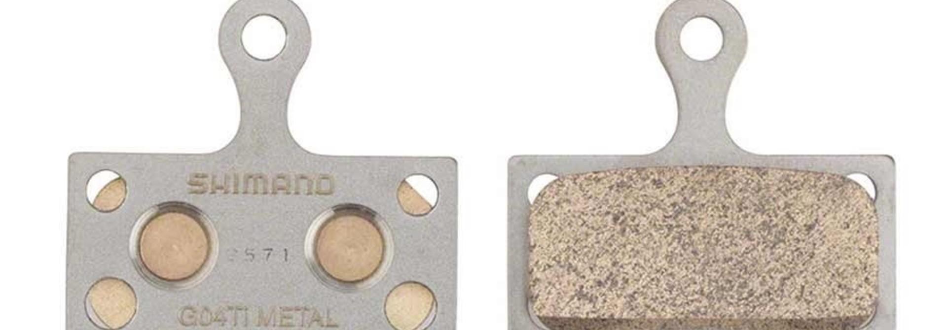Shimano, BR-M9000, G04TI, Disc brake pads, Metal, Without fins, Pair, F type, 2-piston