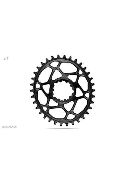 absoluteBLACK Oval Narrow-Wide Direct Mount Chainring - 28t, SRAM 3-Bolt Direct Mount, 6mm Offset, Black