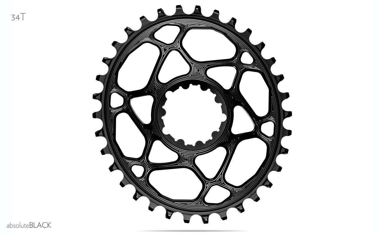 absoluteBLACK, Oval Narrow Wide, Direct Mount Chainring, SRAM 3-Bolt Direct Mount, 3mm Offset-2