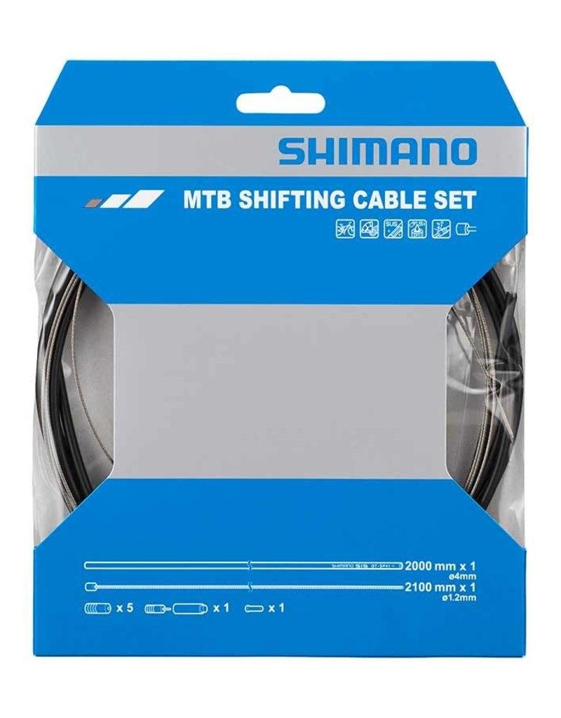 Shimano, MTB 1x Shift Cable Set, Stainless Steel, 2000mm, Black, Shimano/SRAM, Set-1