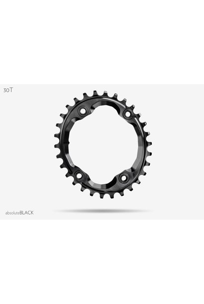 absoluteBLACK Oval 96 BCD Chainring for Shimano XTR M9000 - 30t, 96 Shimano Asymmetric BCD, 4-Bolt, Narrow-Wide, Black