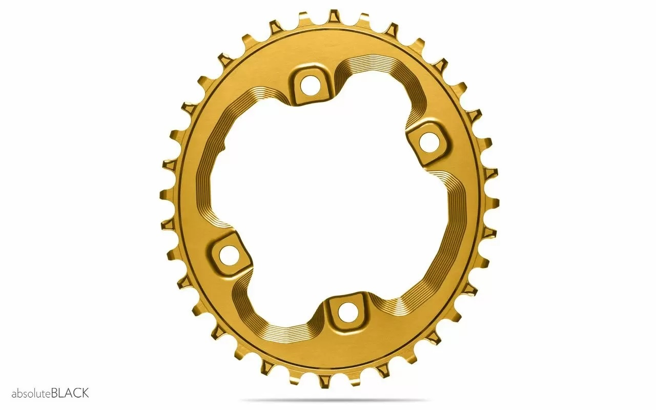 absoluteBLACK Oval 96 BCD Chainring for Shimano XT M8000, 96 Shimano Asymmetric BCD, 4-Bolt, Narrow-Wide-1