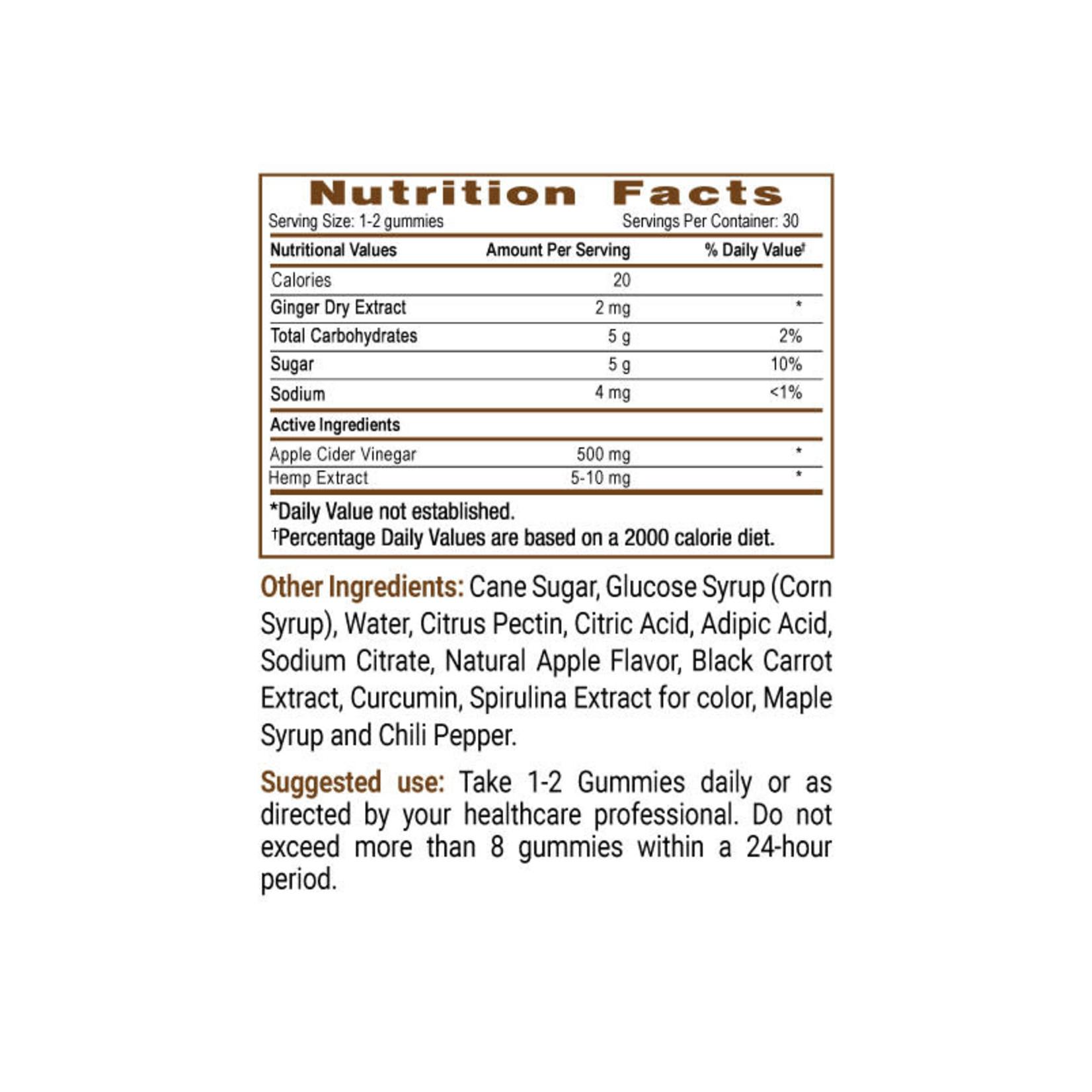 Sun State Hemp SSH CBD Apple Cider Vinegar Gummies 300mg