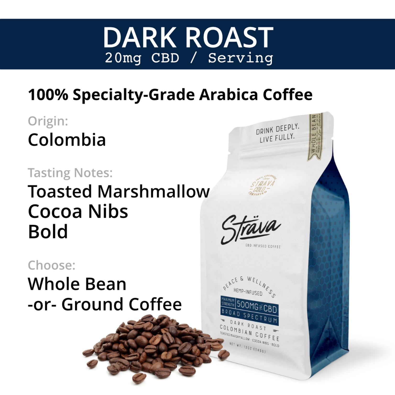 Strava Strava CBD Infused Coffee 500mg Maximum Strength Broad Spectrum Dark Roast Columbian Coffee