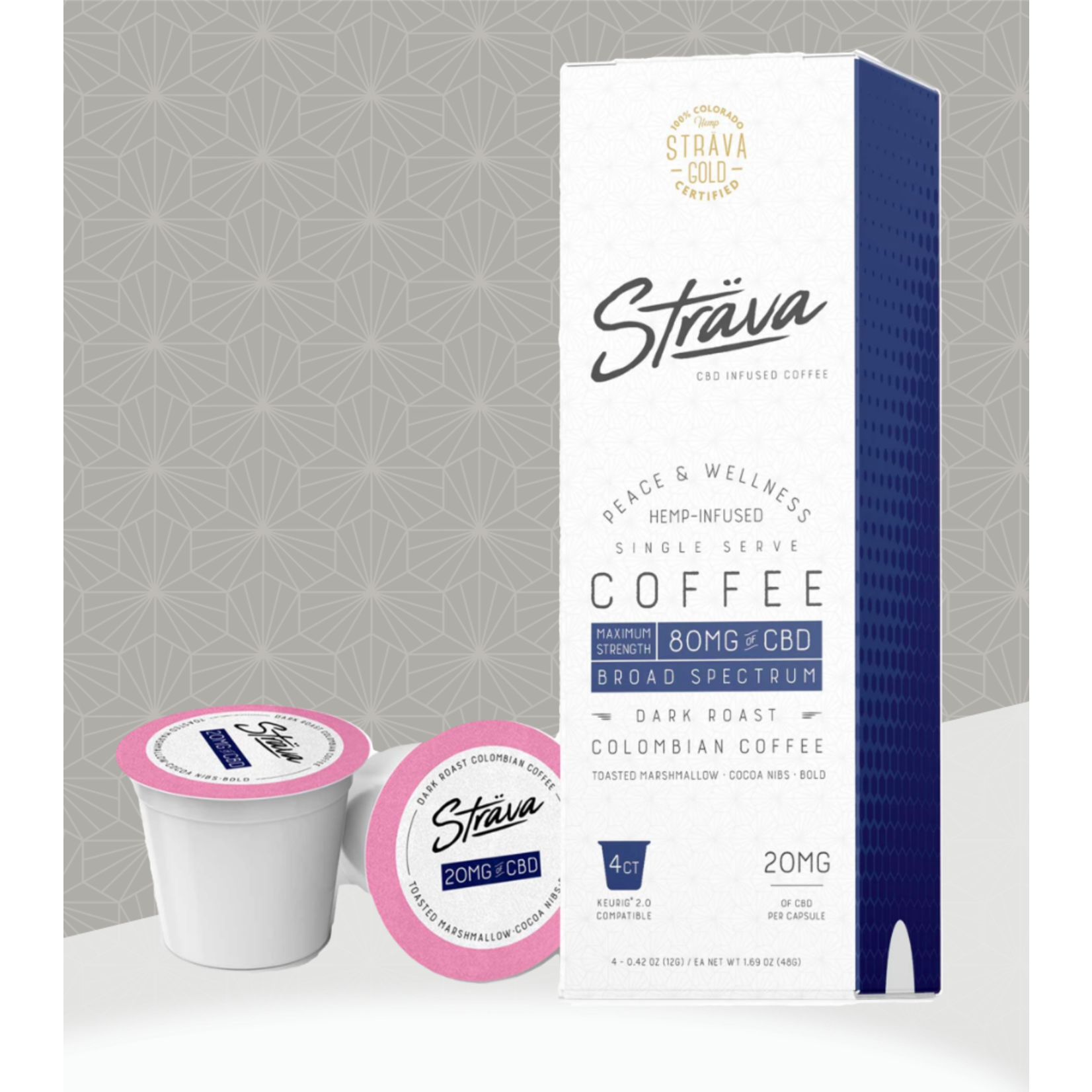 Strava Strava CBD Infused Coffee 80mg Broad Spectrum dark Roast Single Serve Keurig cup maximum Strength Columbian coffee