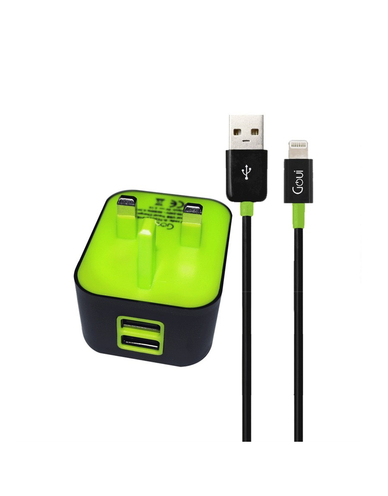 Goui Goui Wall Charger With Lighting Cable 2 USB Output 3.1A - Black