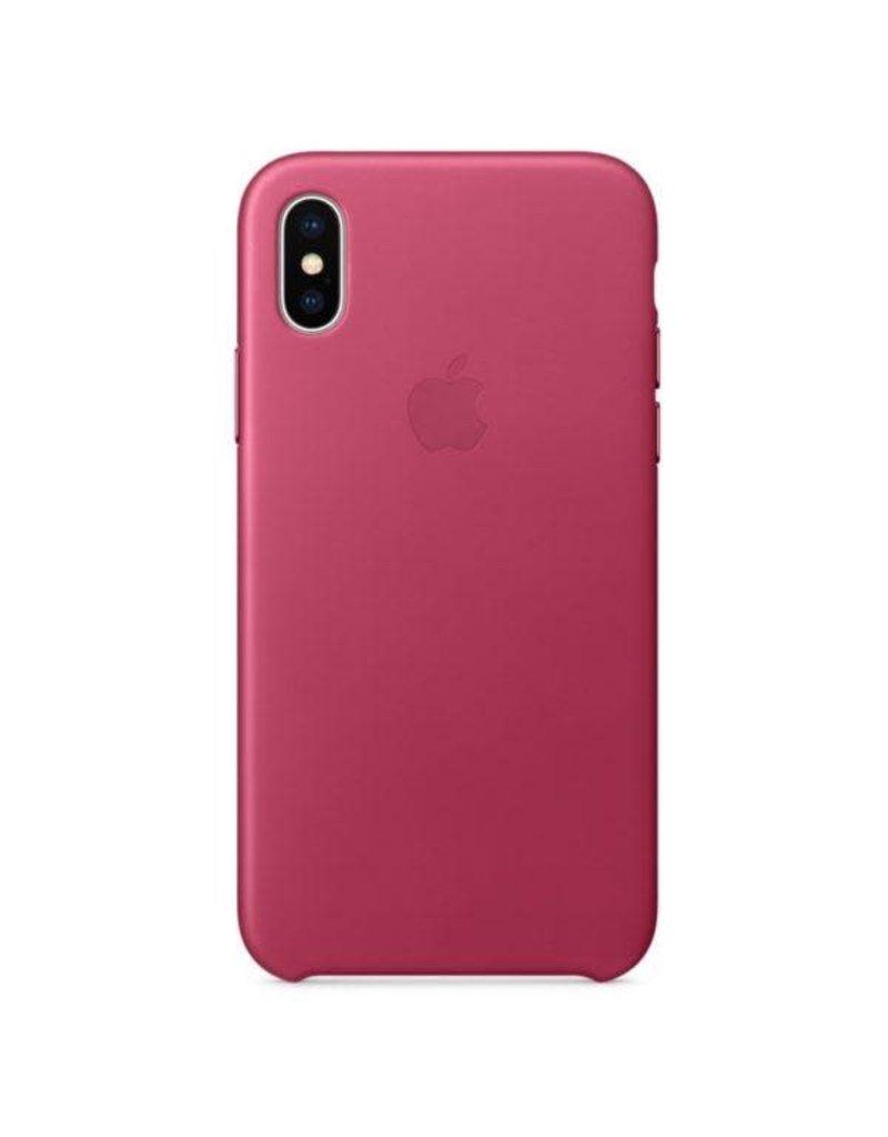 Apple Apple iPhone X Leather Case - Pink Fuchsia