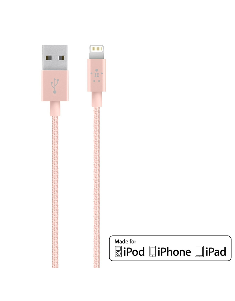 BELKIN MIXIT↑ METALLIC LIGHTNING TO USB CHARGE + SYNC CABLE 1.2M - ROSE GOLD
