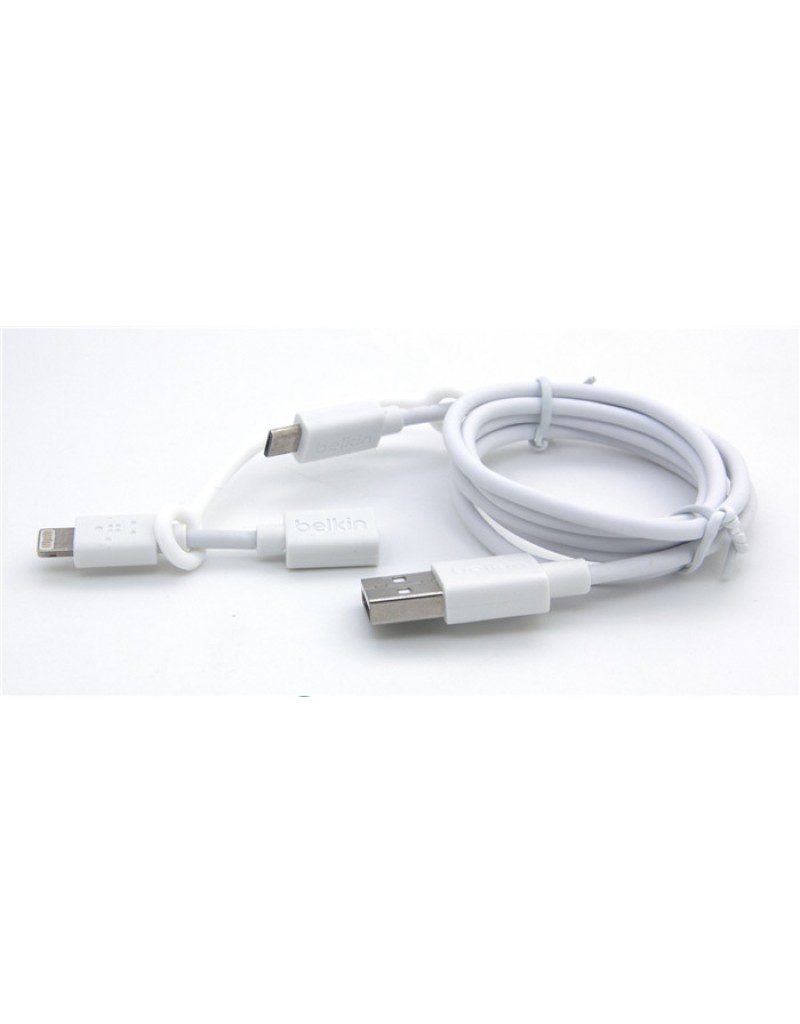 BELKIN Belkin Micro-USB Cable with Lightning connector Adapter - white
