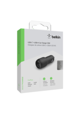 Belkin Dual Port Car Charger 30W USB-C Power Delivery 18W and USB-A 12W - Black