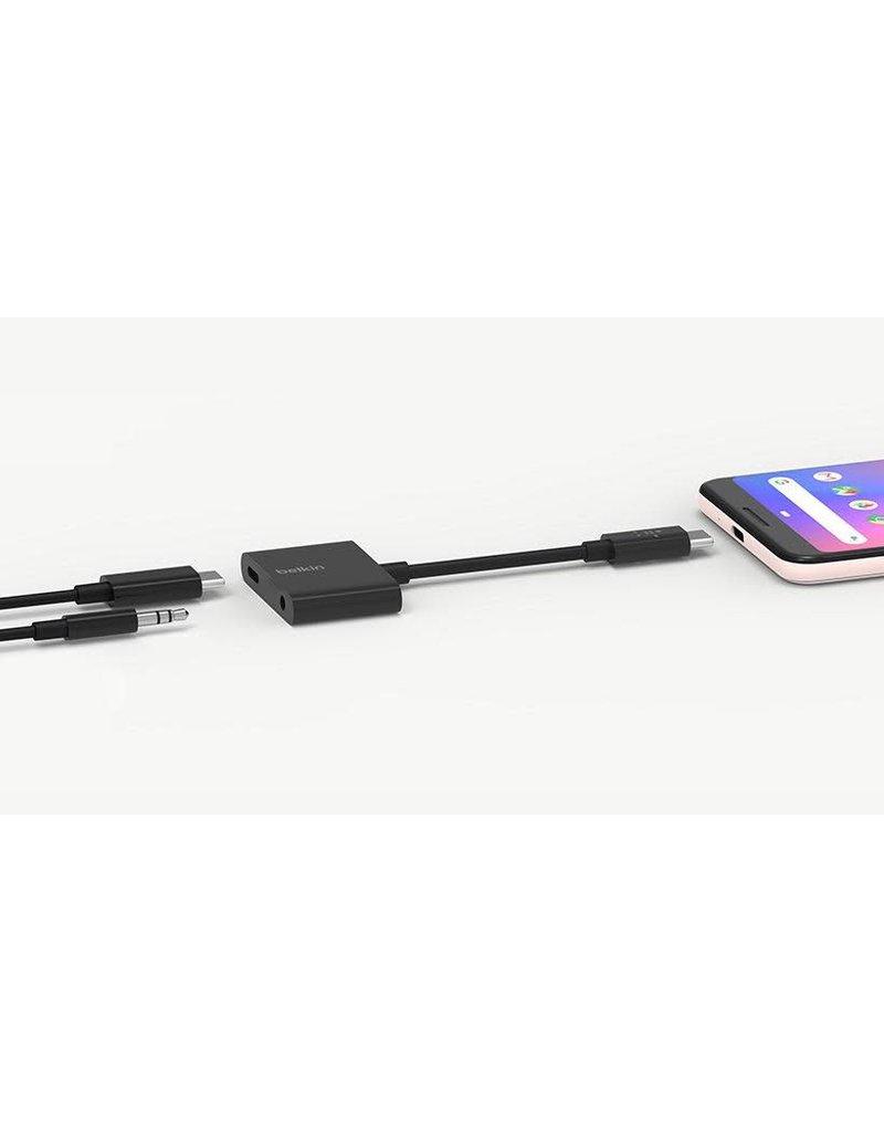 BELKIN Belkin Rockstar  3.5Mm Audio +  USB-C Connector For Charge Adapter - Black