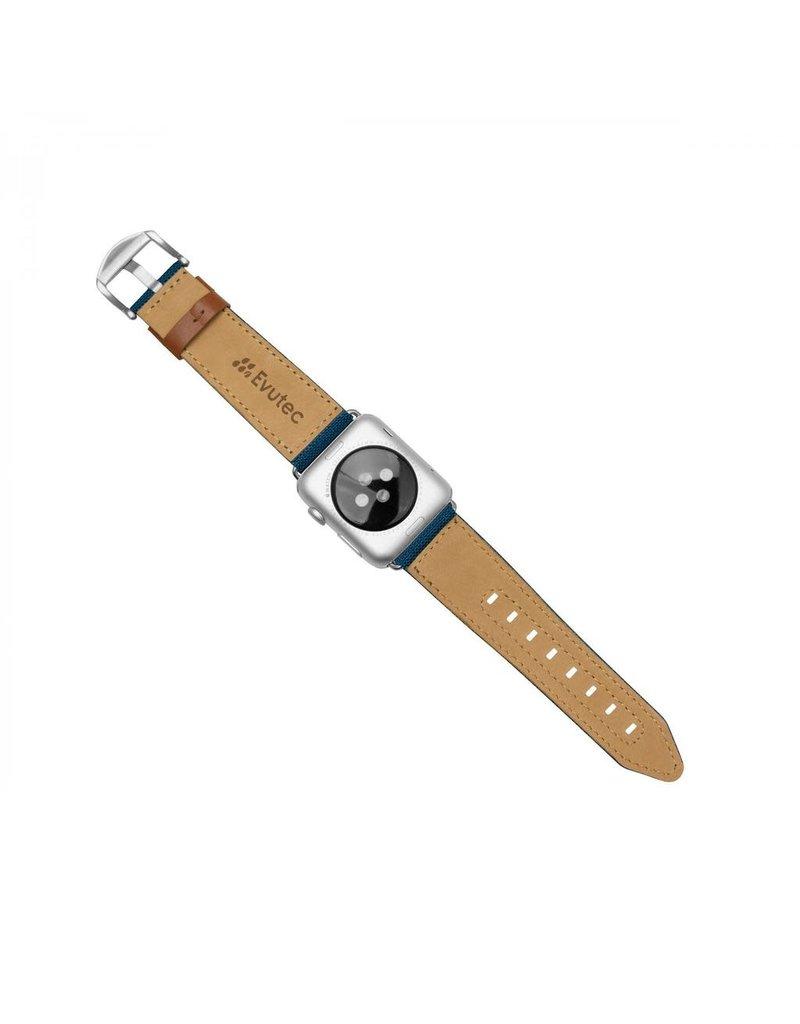 Evutec Evutec Northill Apple Watch Band 42/44mm - Blue/Saddle