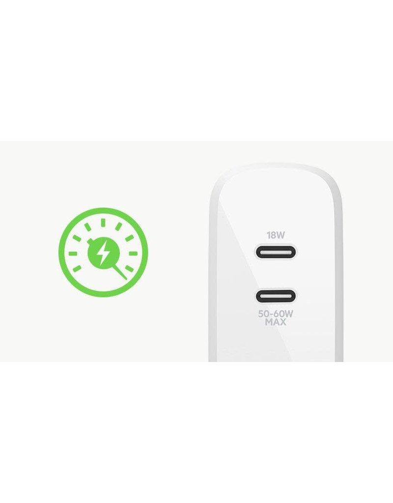 BELKIN Belkin Boost Dual USB-C PD Gan Wall Charger 63W ,45C/18C - White